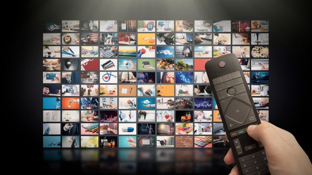 Television streaming video concept. Media TV video on demand technology. Video service with internet...