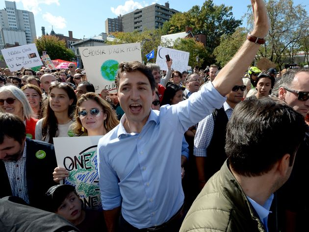 Liberal Leader Justin Trudeau takes part in the Climate Strike, in Montreal on Sept. 27,