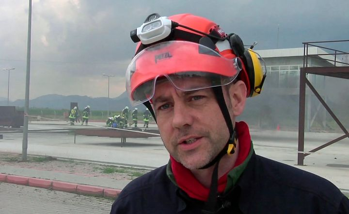 In this image taken from file video, showing James Le Mesurier, founder and director of Mayday Rescue, talks to the media dur