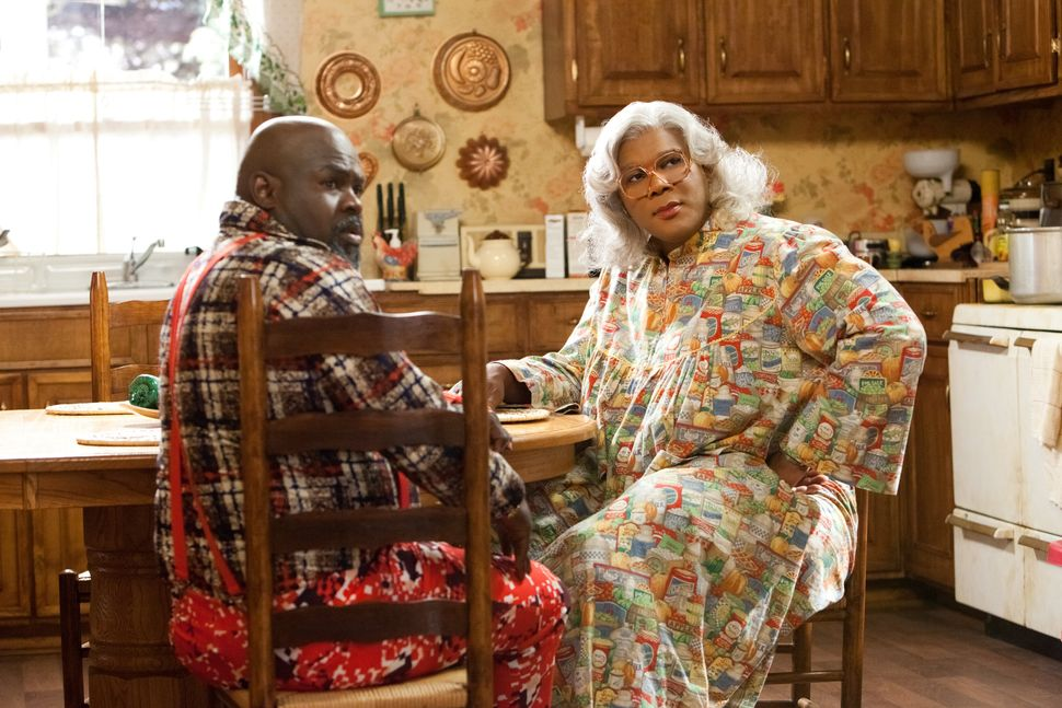 Brown (David Mann) and Madea (Tyler Perry) in Tyler Perry's Madea's Big Happy Family.