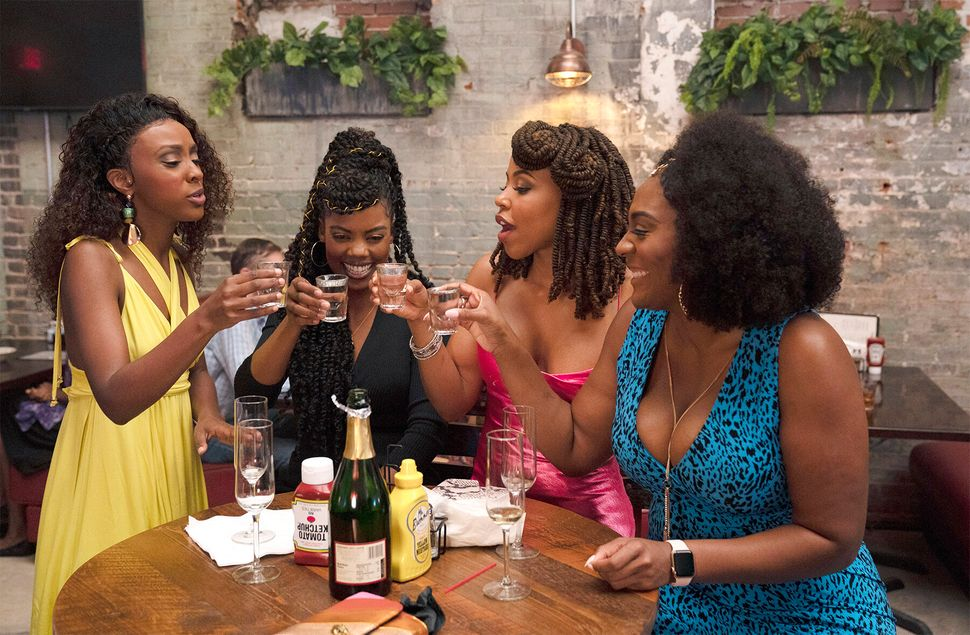 "Still from the premiere episode of BET's ""Sistas."""