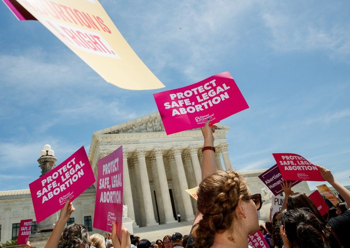People protest for abortion rights in May outside the U.S. Supreme Court, which will hear an important Lousiana abortion case