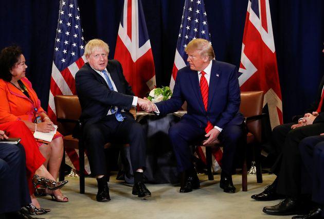 Prime Minister Boris Johnson shakes hands with US president Donald