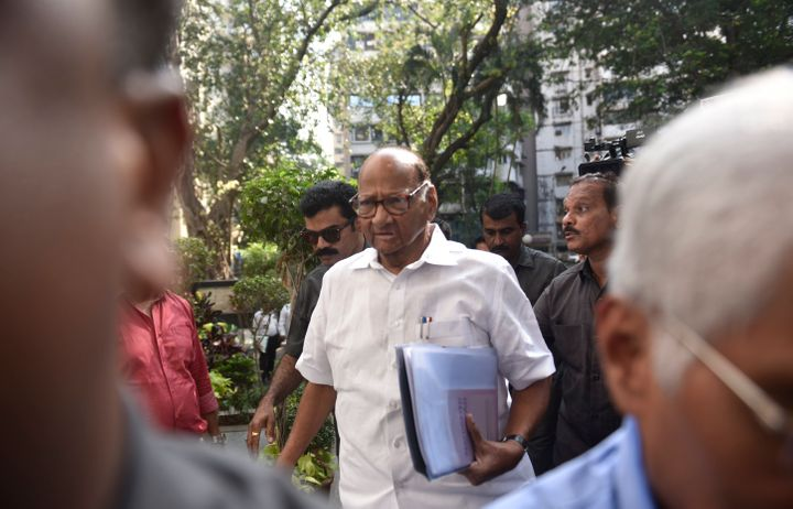 NCP Chief Sharad Pawar arrives for NCP core committee meeting at Y.B Chavan Center, Nariman Point on November 11, 2019 in Mumbai.