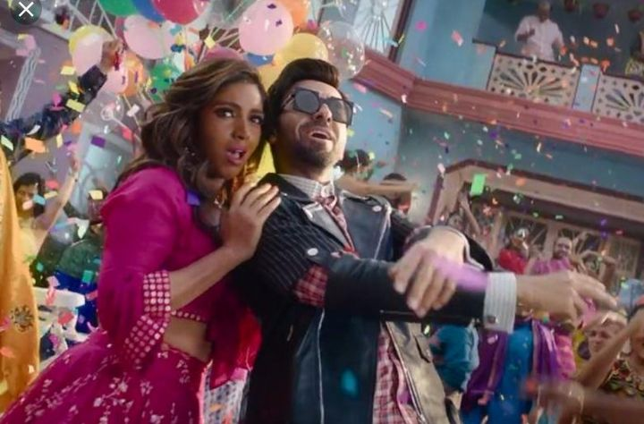 Bhumi Pednekar and Ayushmann Khurranna in a still from the song 'Don't Be Shy Again' from the film 'Bala'.