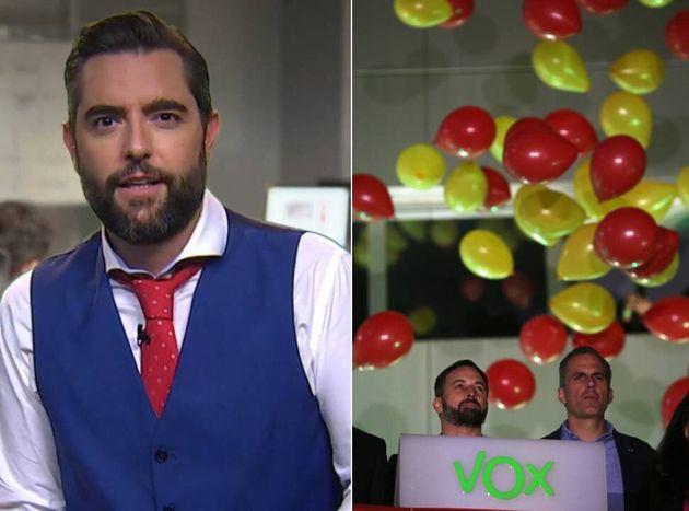 Dani Mateo y los líderes de Vox en la noche