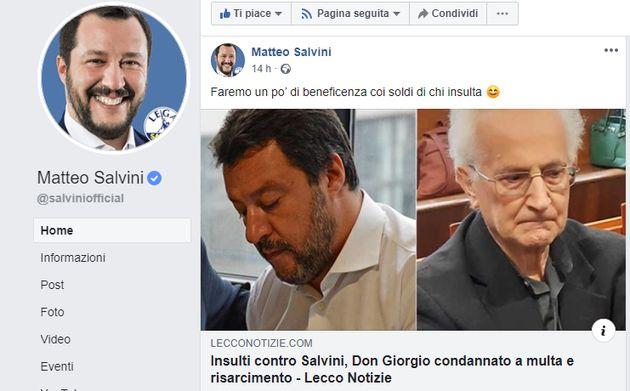 Diffamò Matteo Salvini: Don Giorgio De Capitani condannato.