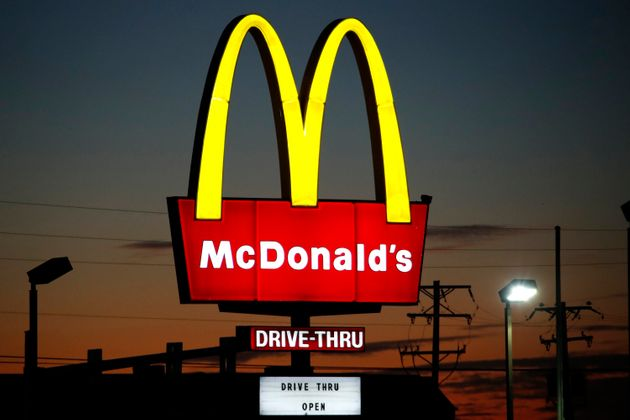 This is the sign outside a McDonald's restaurant in Ebensburg, Pa., Thursday, Oct. 24, 2019. (AP Photo/Gene...