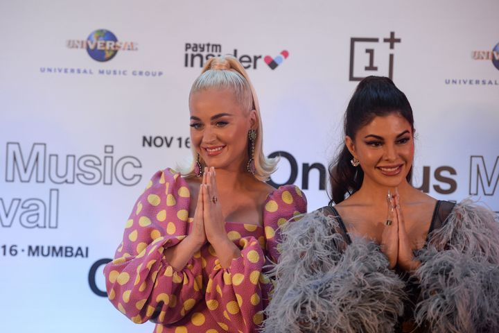 Katy Perry with Jacqueline Fernandez at a press conference in Mumbai on 12 November.