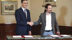 """Sánchez e Iglesias rubrican un preacuerdo para un Gobierno de coalición: """"Era nuestro"""