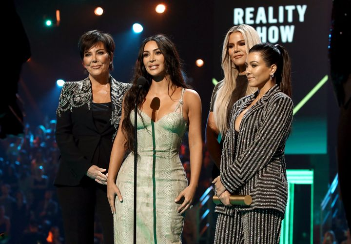 """Kris Jenner, Kim, Khloe and Kourtney Kardashian accept the Reality Show of 2019 for """"Keeping Up with the Kardashians"""" on stage during the People's Choice Awards on Nov. 10."""