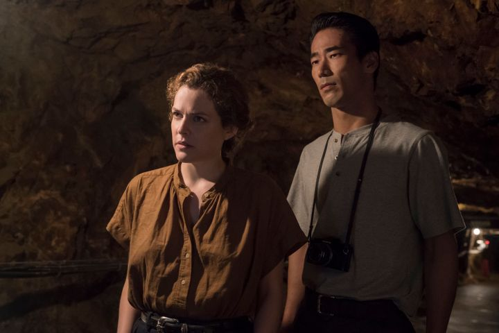 "Riley Keough and Naoki Kobayashi in ""<a href=""https://www.netflix.com/title/80244457"" target=""_blank"" rel=""noopener noreferrer"">Earthquake Bird</a>"""