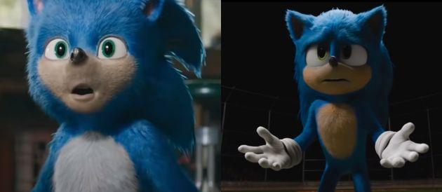 À droite, le nouveau design de Sonic dans la bande-annonce du 12 novembre. À gauche, la version présentée...