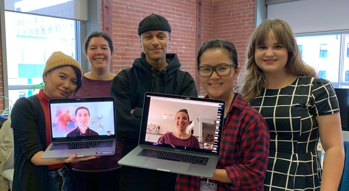 The HuffPost Canada LIFE team in our Toronto office, from left: Al Donato, Nick Mizera, Chloe Tejada, Connor Garel, Natalie Stechyson, Lisa Yeung, Maija Kappler.
