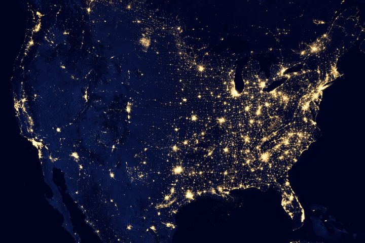 NASA image of city lights across the United States.