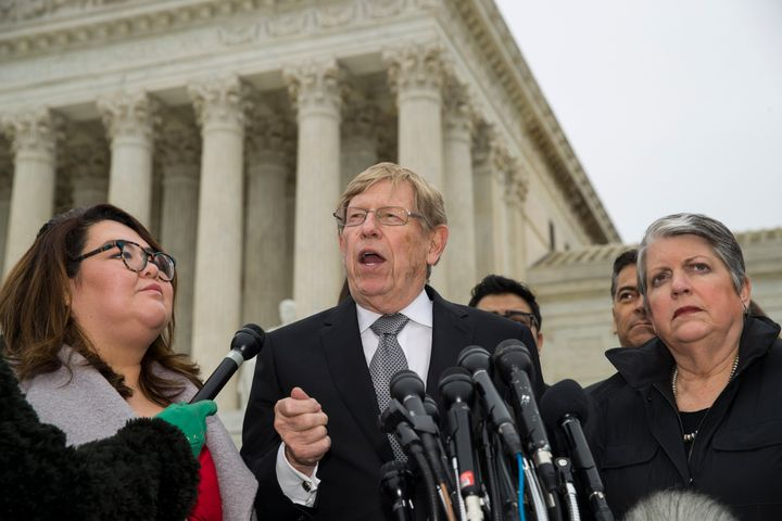 Former U.S. Solicitor General Ted Olson speaks, with DACA recipient Greisa Martinez Rosa, left, and former Secretary of Homel