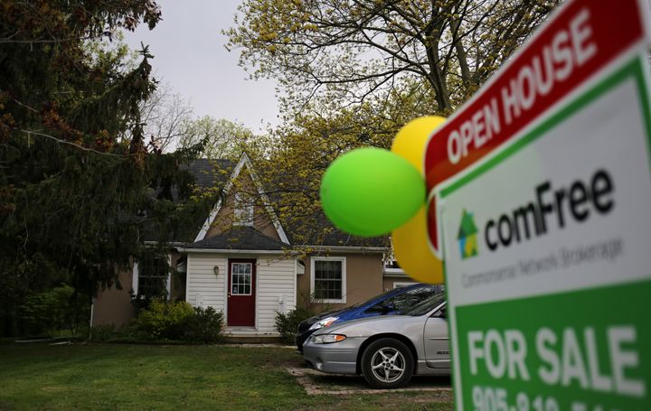 A house for sale privately by its owners in Hamilton, Ont., May 13, 2017.