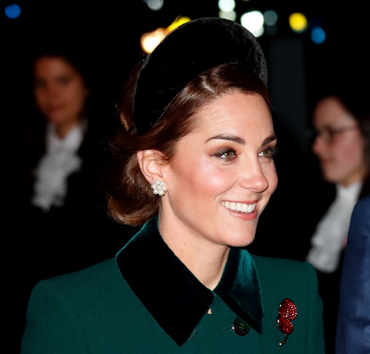 Catherine, Duchess of Cambridge attends a service to mark the centenary of the Armistice at Westminster Abbey on November 11, 2018 in London, England.