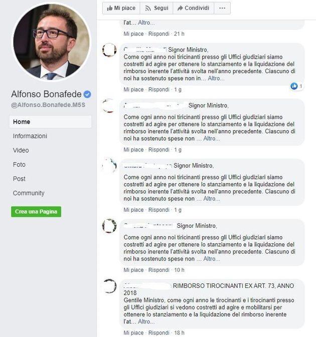 Alcuni dei messaggi dei tirocinanti sulla pagina del ministro Bonafede (8 novembre