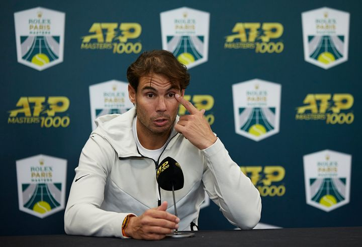 Nadal speaks at a press conference after withdrawing injured from his men's semifinal match against Denis Shapovalov at the Rolex Paris Masters on Nov. 2 in Paris.