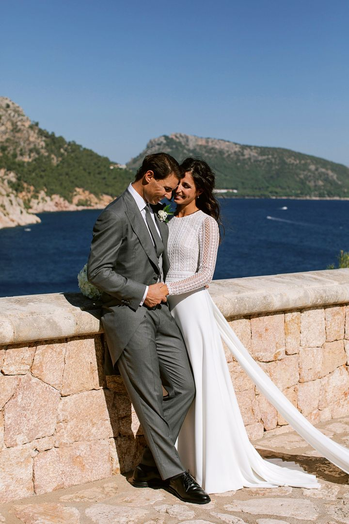 In this handout photo provided by the Fundacion Rafa Nadal, Nadal poses with wife Xisca Perello for the official wedding port