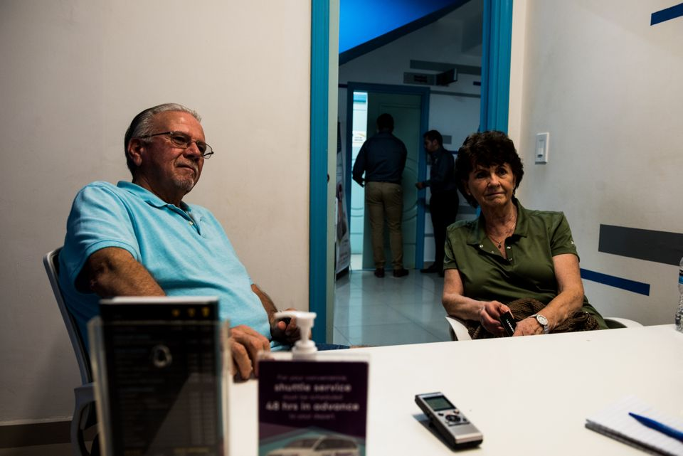Dan, 77, and Donette Brower, 75, of Spokane, Washington, sit in the consultation room before getting...