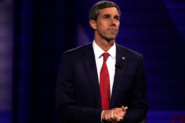 Beto O'Rourke takes part in a televised town hall on CNN dedicated to LGBTQ issues in Los Angeles on Oct. 10, 2019.