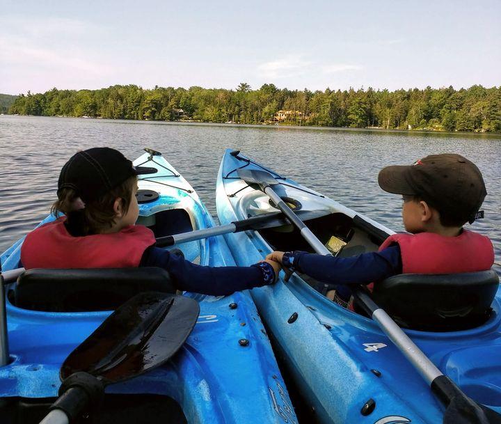 Walker'skids on their first kayak adventure this summer.