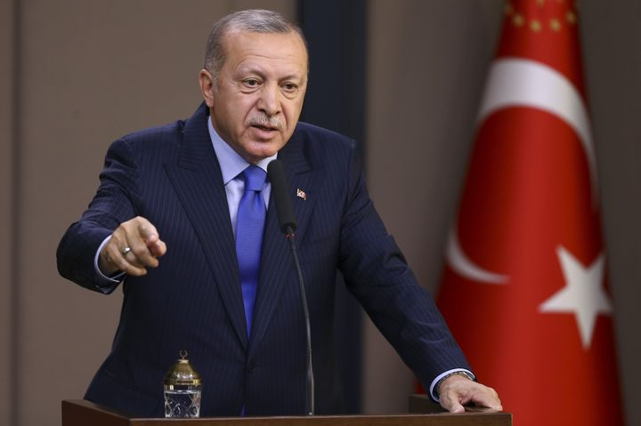 Turkish President Recep Tayyip Erdogan makes a speech during a press conference in Ankara, Turkey, Nov. 12, 2019.