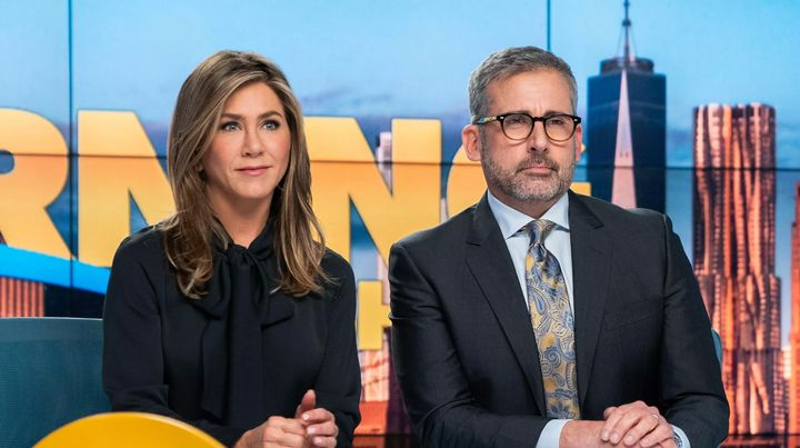 """Jennifer Aniston and Steve Carell in """"The Morning Show"""" on Apple TV+."""