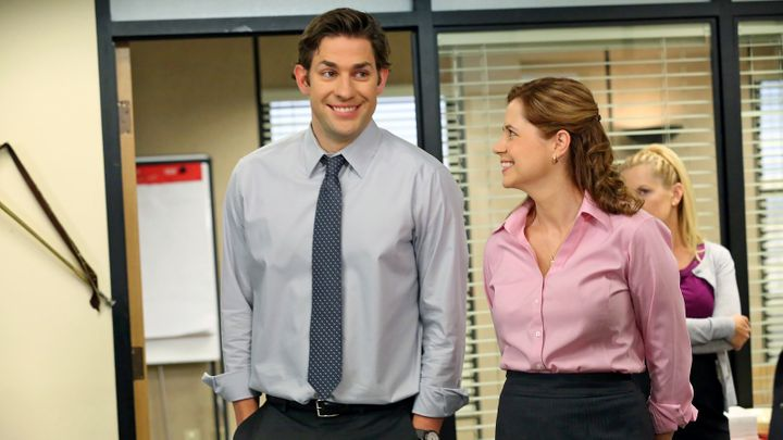 """John Krasinski and Jenna Fischer in """"The Office,"""" which will be on Peacock."""