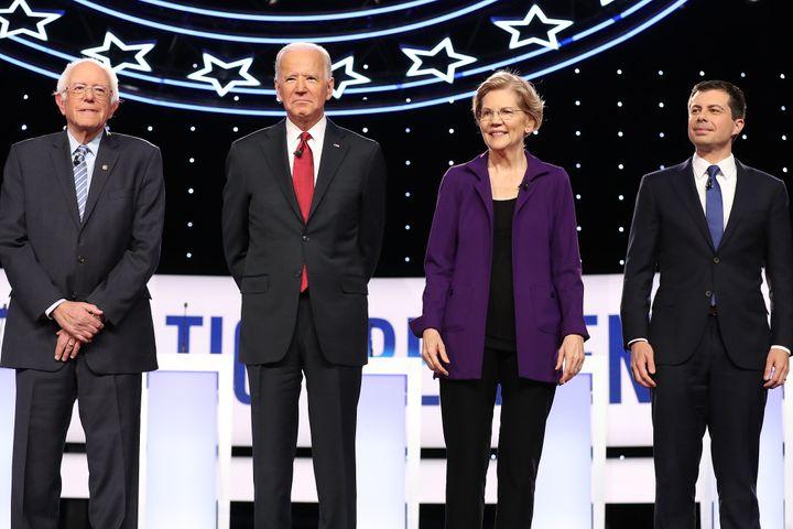 Sen. Bernie Sanders (I-Vt.), former Vice President Joe Biden, Sen. Elizabeth Warren (D-Mass.) and South Bend, Indiana, Mayor