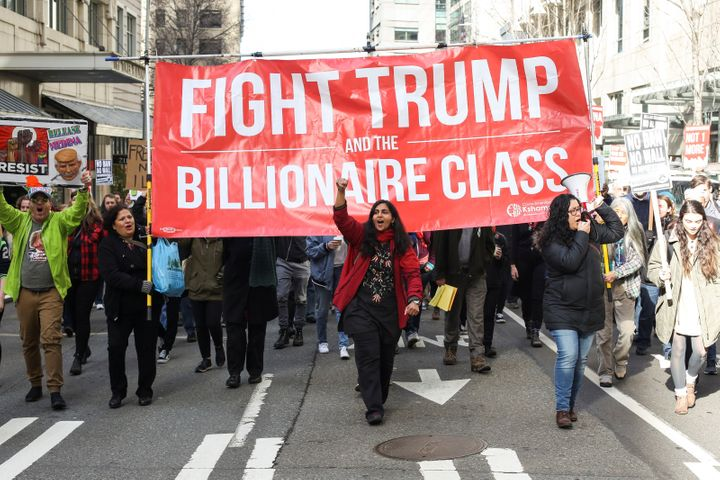 Seattle City Councilmember Kshama Sawant leads a march in support of a detained undocumented immigrant in 2017. Sawant, a soc