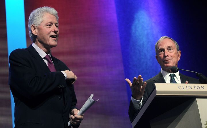 Michael Bloomberg speaks at the Clinton Global Initiative in 2010 as former President Bill Clinton looks on. Clinton welcomed