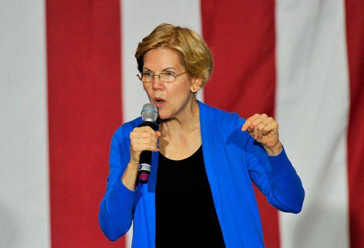 Sen. Elizabeth Warren (D-Mass.) speaks in Exeter, New Hampshire, on Monday. Warren, who is proposing a wealth tax, has drawn