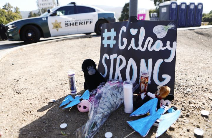 A makeshift memorial outside the site of the Gilroy Garlic Festival, where a shooter killed three people and injured at least