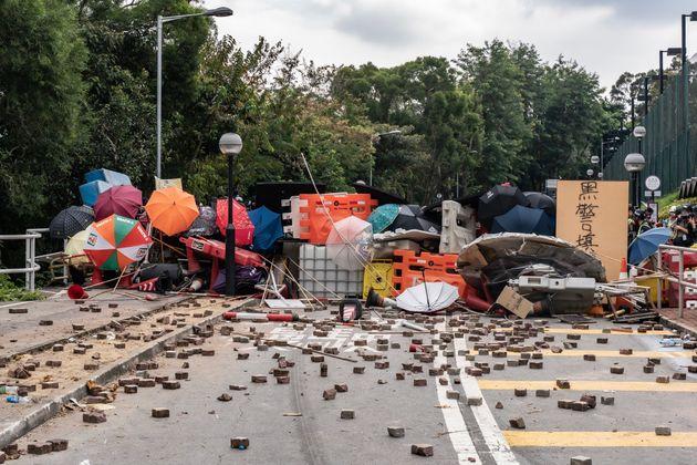 HONG KONG, CHINA - November 12: A barricade is seen during a demonstration at Chinese University of Hong...