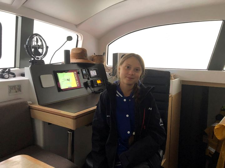 Greta Thunberg, a 16-year-old climate activist from Sweden, aboard a catamaran docked in Hampton, Virginia, on Tuesday.