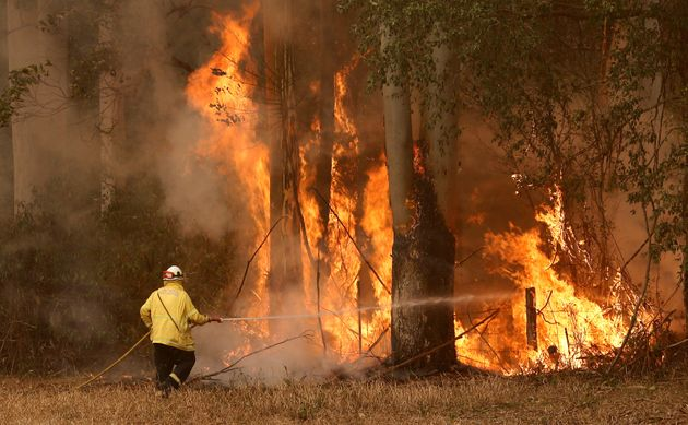 A Tuncurry fire crew member fights part of the Hillville bushfire south of Taree, in the Mid North Coast...