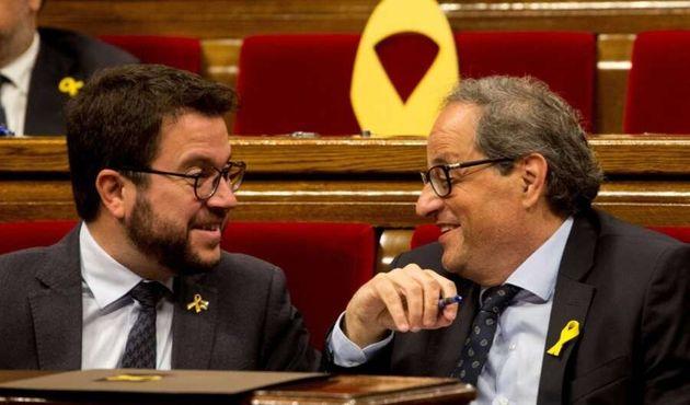 El vicepresidente del Govern, Pere Aragonès, y el president, Quim