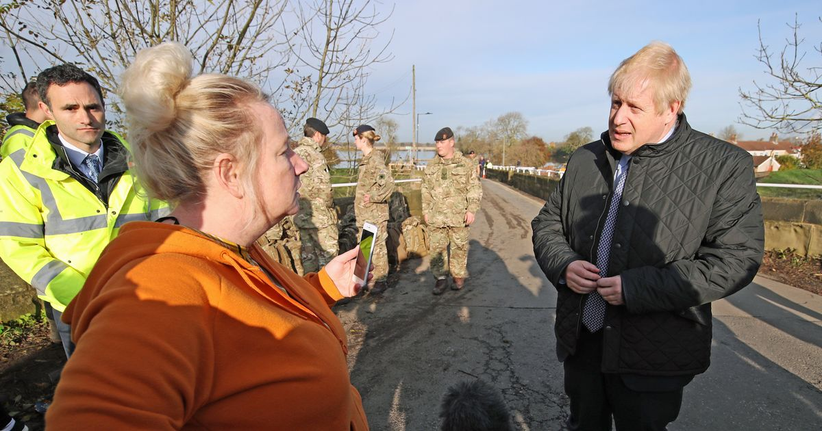 Boris Johnson Confronted And Heckled By Flood Victims During Yorkshire Visit