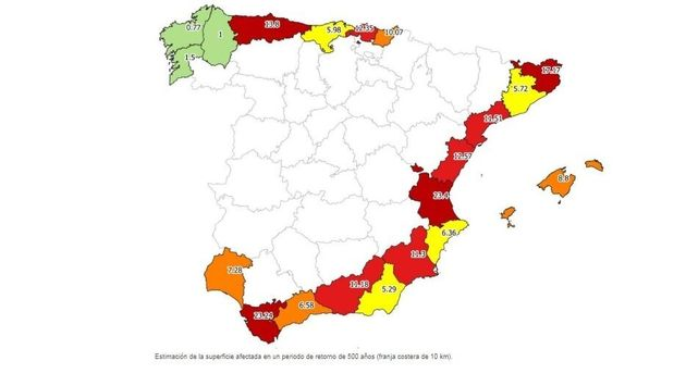 Población en riesgo de Inundación en España en la franja de los primeros 10 Kilómetros de