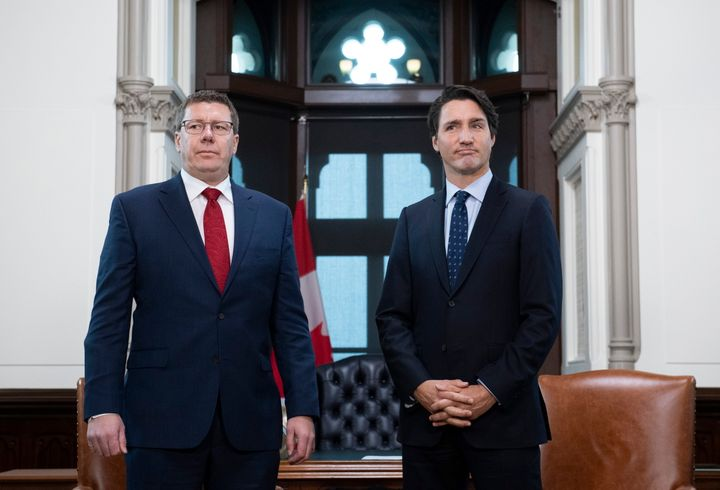 Prime Minister Justin Trudeau meets with Premier of Saskatchewan Scott Moe in his office on Parliament Hill in Ottawa on Nov. 12, 2019.