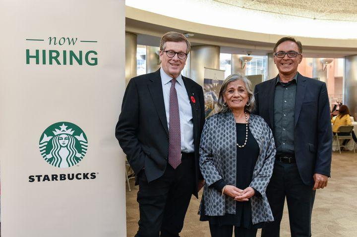 Toronto Mayor John Tory, Independent Sen. Ratna Omidvar and Darrell Pinto attend a refugee hiring event on Oct. 31.