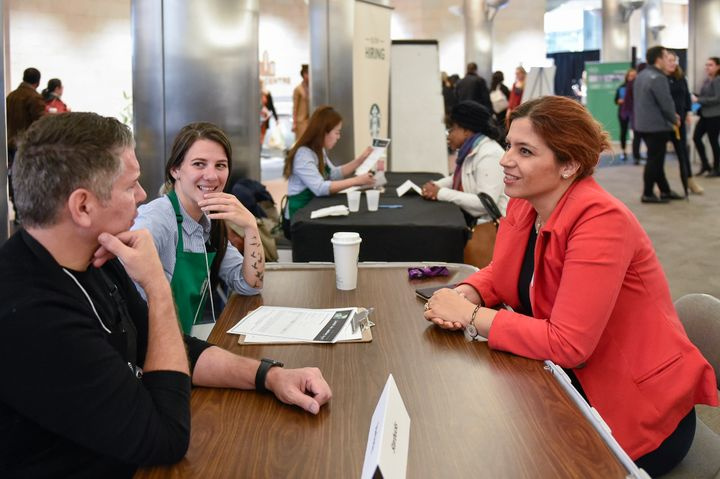 Starbucks Canada interviews a candidate at a refugee hiring event in Toronto on Oct. 31.