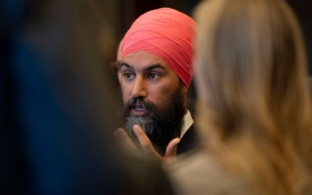NDP leader Jagmeet Singh speaks during a media availability on Parliament Hill in Ottawa on Wednesday,...