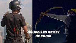 Javelots et flèches enflammées sont les nouvelles armes des manifestants à Hong