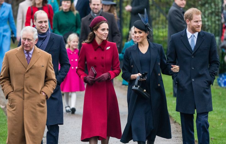 Prince Charles, the Duke and Duchess of Cambridge and the Duke and Duchess of Sussex attend Christmas Day church service in 2018.