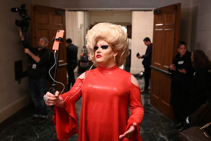 Drag queen Pissi Myles attends the House Intelligence Committee hearing of the impeachment inquiry into U.S. President Donald