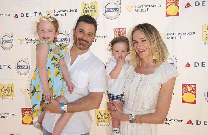 Jimmy Kimmel and his family attend the L.A. Loves Alex's Lemonade charity event on Sept. 8, 2018, in Los Angeles.